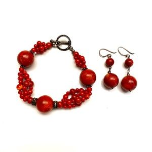 Vintage Red Bracelet and Earrings Set